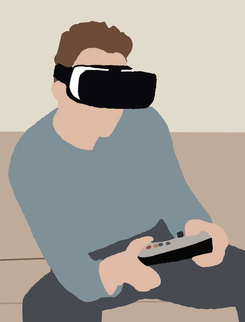 vr headset in use