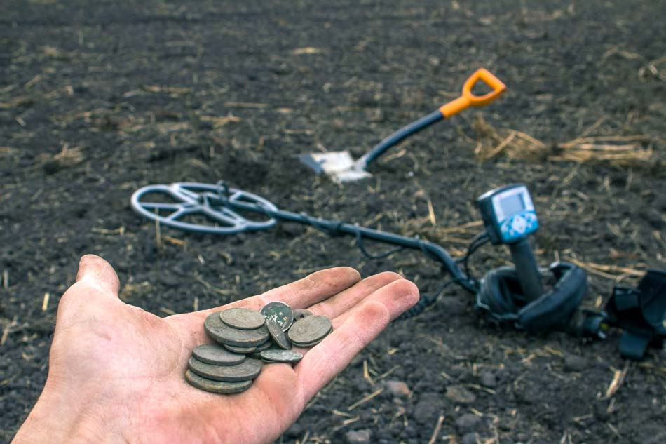 Finding coins and money with beginner metal detector