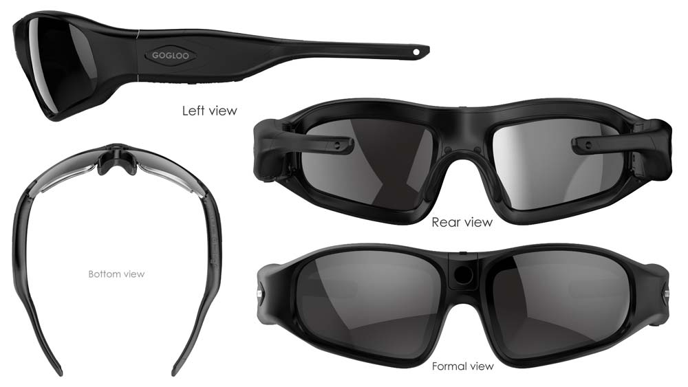 View angles on the GOGLOO E8 Full HD Video Camera Sunglasses